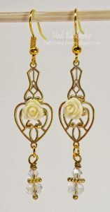 gold brass filigree metal embellishment earrings