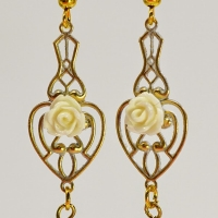 gold brass filigree metal embellishment earrings