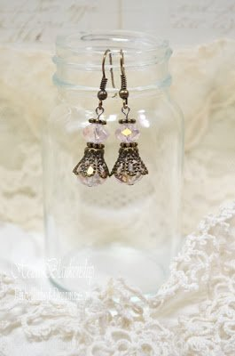 shabby pink crystal earrings for butterbeescraps