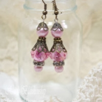 shabby rose dangle earrings for butterbeescraps