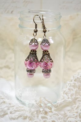 shabby rose dangle earrings for butterbeescraps