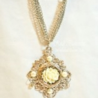 silver filigree and ivory rose necklace for butterbeescraps