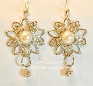 silver filigree and ivory rose earrings fro butterbeescraps