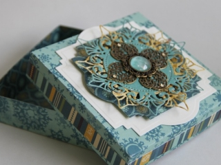 altered box with metal filigree embellishments for butterbeescraps