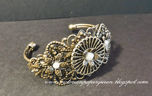 bronze metal filigree bracelet