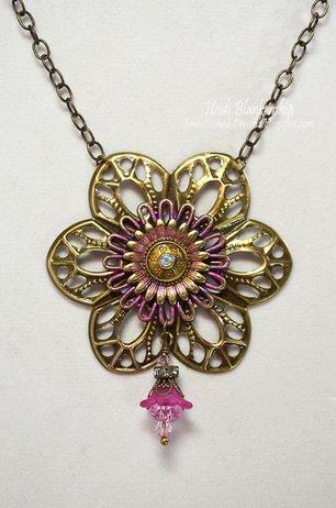 bronze pink necklace butterbeescraps