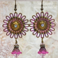 bronze pink patina earrings butterbeescraps
