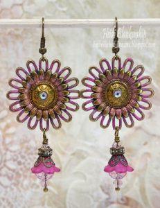 bronze pink patina earrings butterbeescraps