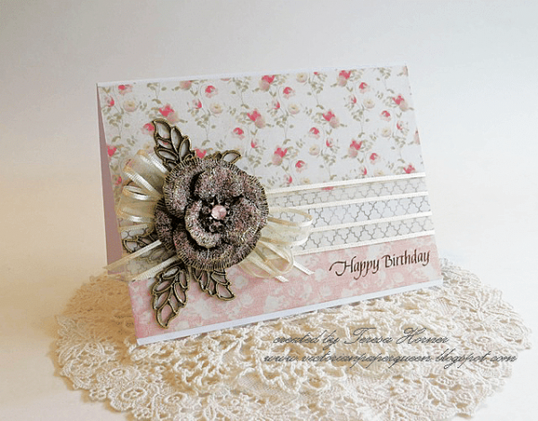 happy birthday card metal filigree embellishments