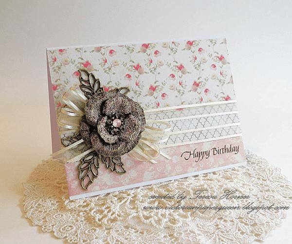 happy birthday card metal filigree embellishments