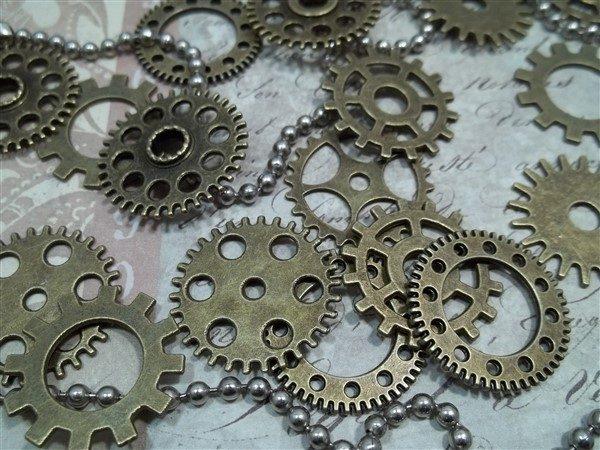 medium bronze gear charms