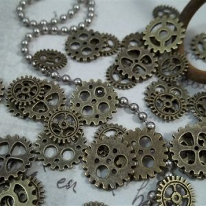 miniature bronze gear charms
