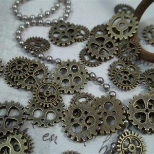 miniature bronze gear charms
