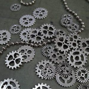 miniature silver gear charms