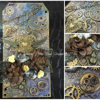 mixed media steampunk tag butterbeescraps