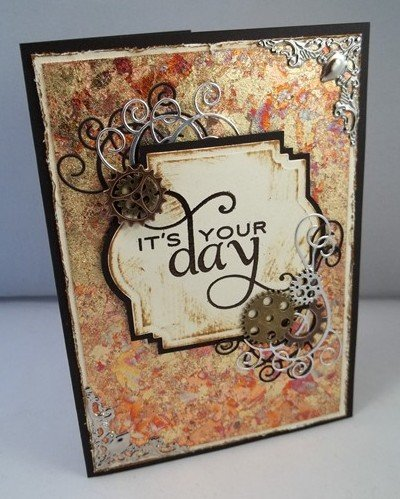 gilded fathers days card by butterbeescraps
