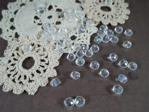 clear ab faceted glass abacus beads by butterbeescraps
