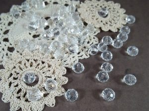 clear faceted glass abacus beads by butterbeescraps