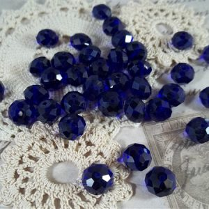 cobalt blue pearlized faceted glass abacus beads by butterbeescraps