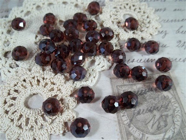 purple pearlized faceted glass abacus beads by butterbeescraps