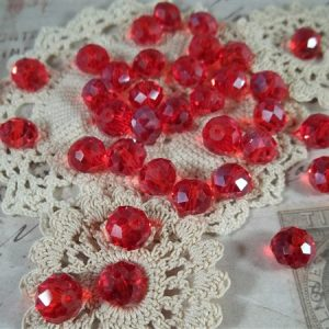 red pearlized faceted glass abacus beads by butterbeescraps