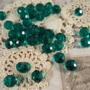 teal green faceted glass abacus beads by butterbeescraps