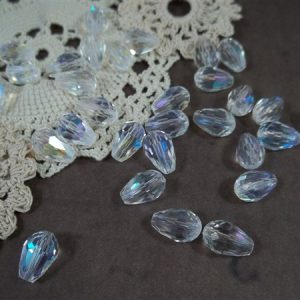 clear ab faceted glass teardrop beads by butterbeescraps