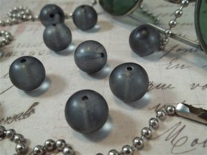 grey round glass beads by butterbeescraps