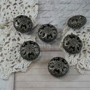 large bronze filigree beads by butterbeescraps