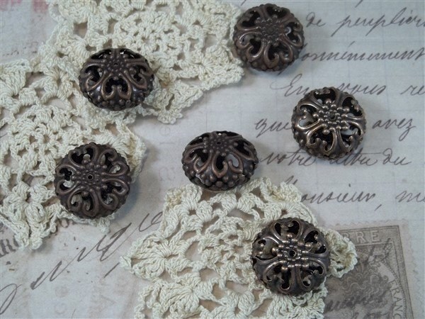 large copper filigree beads by butterbeescraps