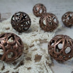 medium copper filigree beads by butterbeescraps