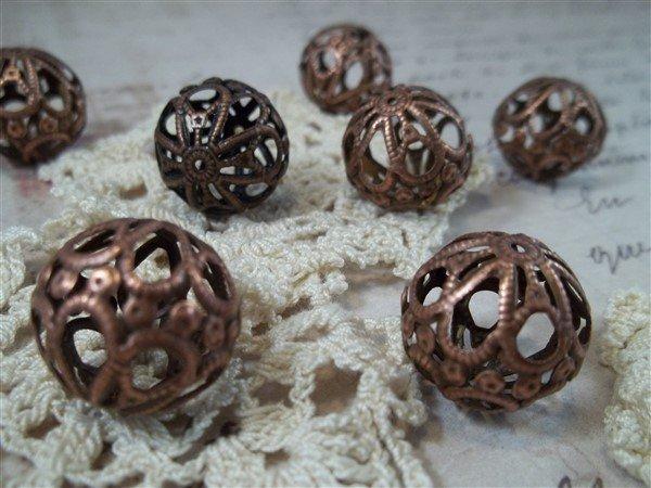 medium copper filigree beads by butterbeescraps
