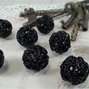 black wire wrapped beads by butterbeescraps