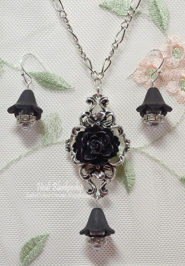 black rose and silver necklace and earrings for butterbeescraps