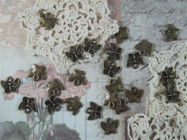 bronze miniature butterfly tibetan charms by butterbeescraps
