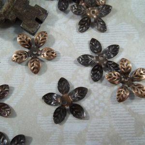 copper filigree bead caps by butterbeescraps