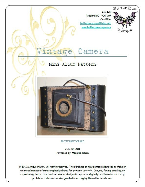 Vintage Camera Mini Album Instructions