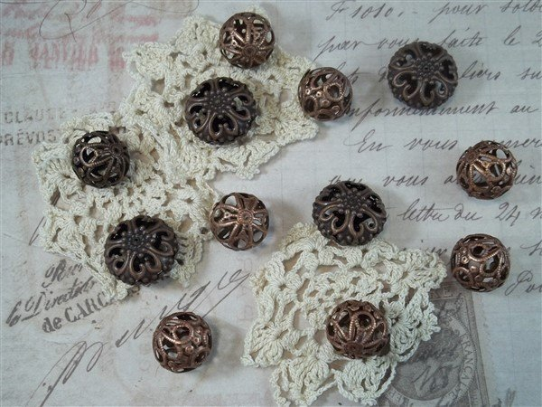 mixed copper filigree beads