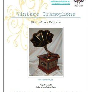 vintage gramophone scrapbook pattern by butterbeescraps
