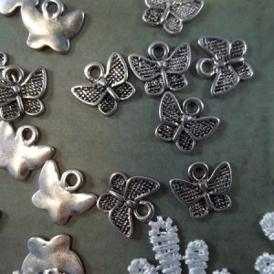 silver miniature butterfly tibetan charms by butterbeescraps