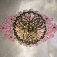 pink handmade embellishments for butterbeescraps