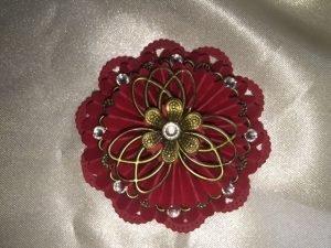 red handmade embellishments for butterbeescraps