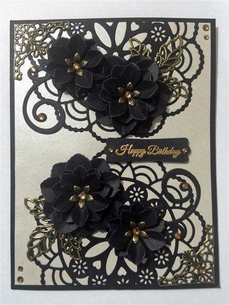 black birthday card