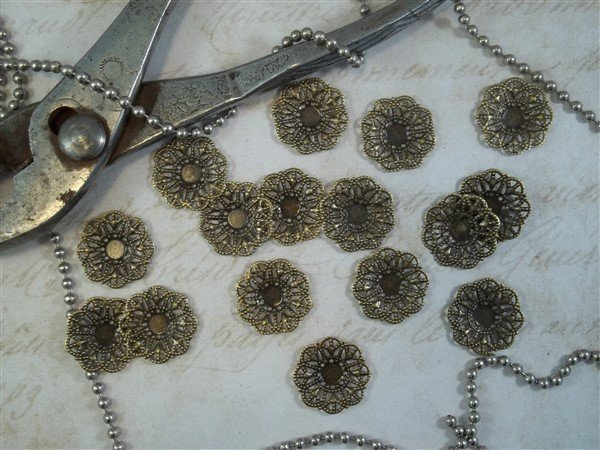 bronze metal filigree embellishments