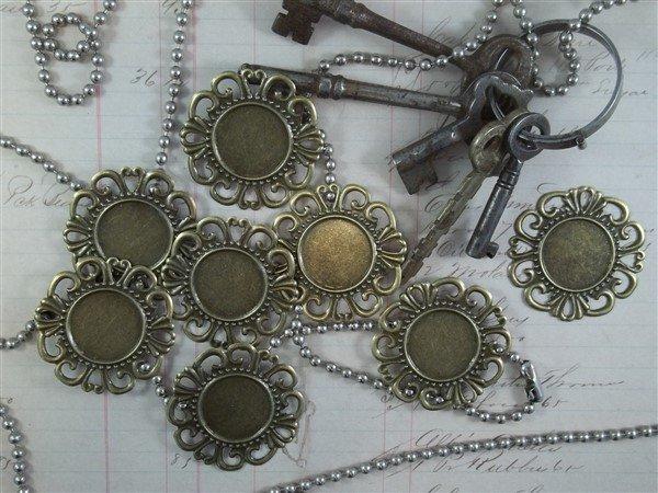 bronzw round metal filigree embellishments