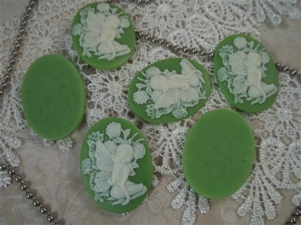 green cameos with fairy