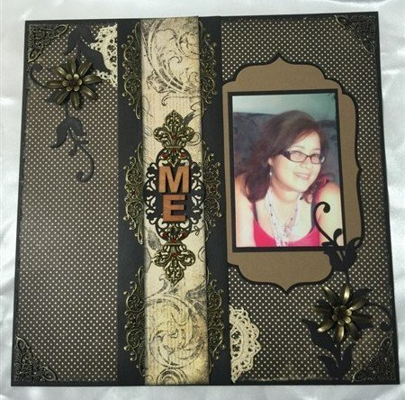 black and bronze scrapbook layout