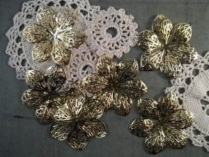 gold flower metal filigree embellishment