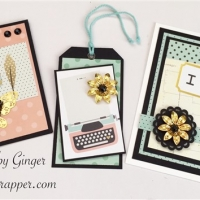 pink blue and black handmade cards and tag
