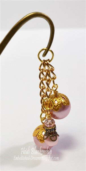 pink and bronze beaded bookmark